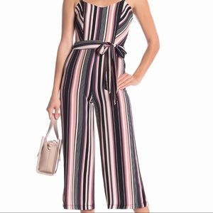 Bebe Striped Waist Belt Cropped Jumpsuit Size 10